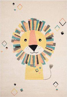 Style je babykamer volgens de laatste trends met dit té leuke baby vloerkleed met leeuw.