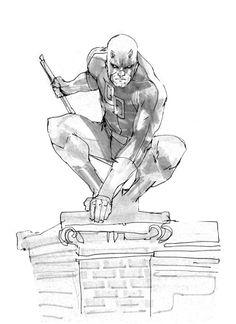 Daredevil by Rafael Albuquerque Daredevil Artwork, Daredevil Elektra, Comic Book Characters, Comic Character, Comic Books Art, Superhero Sketches, Superhero Design, Rafael Albuquerque, Marvel Drawings