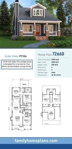 Cottage House Plan 72660 | Total Living Area: 1,853 SQ FT, 4 bedrooms and 3 bathrooms. At 26' feet wide, this cottage home is designed for a narrow lot. Four bdrms accommodate a large family. #cottagehome