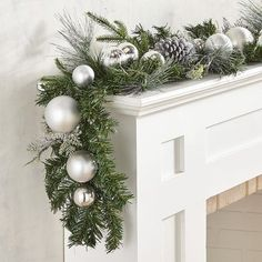 Blending the icy sparkle of snow-dusted pinecones with the silvery glow of ornaments, our garland will bring wintery elegance to your mantel, console table or centerpiece. White Christmas Ornaments, Silver Christmas Decorations, Christmas Tree Garland, Silver Christmas Tree, Christmas Home, Christmas Crafts, Silver Ornaments, Christmas 2019, Christmas Ideas