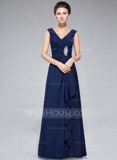 [US$ 146.99] Sheath/Column V-neck Floor-Length Jersey Mother of the Bride Dress With Beading Sequins Cascading Ruffles (008042328)