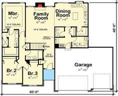 3-Bedroom Ranch Floor Plans | First Floor Plan of Ranch House Plan ...