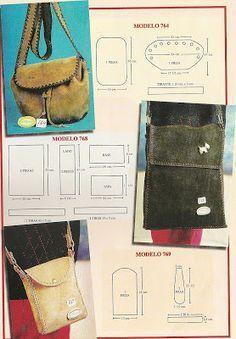 Healthy Addiction: Bags and purses in leather and crochet Leather Bags Handmade, Handmade Bags, Leather Craft, Diy Bag Recycled, Sac Vanessa Bruno, Crea Cuir, Diy Sac, Diy Handbag, Patchwork Bags