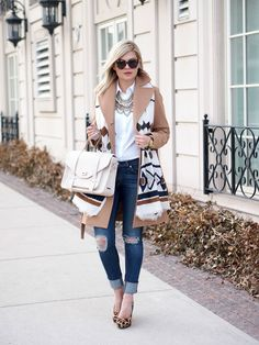 3.15 bibbity boo (Michael Kors coat + Ann Taylor blouse + BaubleBar necklace + Rag & Bone jeans + Steve Madden heels + Gigi NY bag + Karen Walker sunnies + Zara scarf + Michael Kors watch + Three Sweet Beads ring)