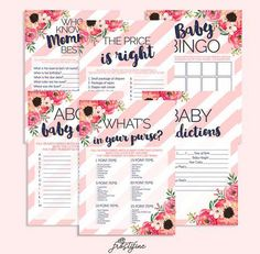 469ae9f99 It s a Girl baby shower game card set