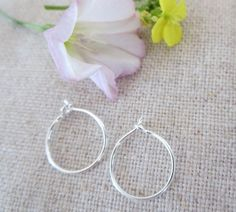 Plain Mini Hoop in Sterling Silver or 14Kt by Wisteriaearrings