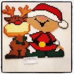 Little reindeer and elf - Christmas perler beads by stelloudraw - Pattern: http://www.pinterest.com/pin/374291419006123406/