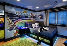 20 Cool Boys Bedroom Designs to Inspire You : Sport Themed Yankies Blue Themed Boys Bedroom with Wooden Floor and Synthetic Rug