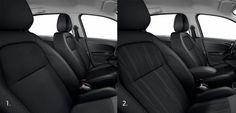 Vestiduras de los asientos en el Peugeot 301.      1.Negro Oza Mistral (Versión Allure)           2.Negro Oline Mistral (Versiones Access y Active)