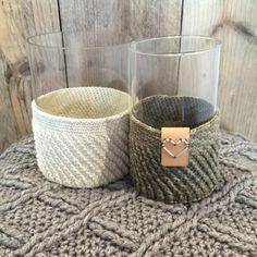 Gehaakte potten met leerlabel Handmade with LOVE