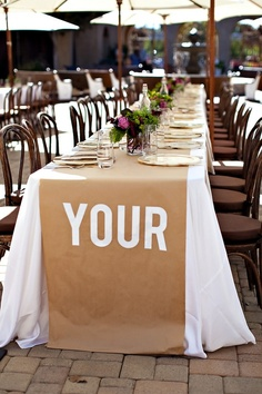 Brown paper table runners - cost effective!