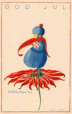 "vintage Christmas ""God Jul "" postcard"