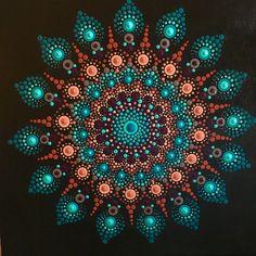 This color scheme Mandala Artwork, Mandala Canvas, Mandala Drawing, Mandala Painting, Dot Art Painting, Rock Painting Designs, Painting Patterns, Stone Painting, Mandala Painted Rocks