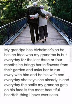 True Love Can Last A Life - We are closer now than ever before to curing Alzheimer's. Until we do, love your beloved with all your heart and think about how this grandpa gets to fall in love for the first time, every day. Sad Love Stories, Touching Stories, Sweet Stories, Cute Stories, Love Story, Heart Touching Story, Cute Relationship Goals, Cute Relationships, Human Kindness