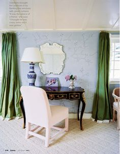 green curtains this room needs something to wake it up, what about some chalky green curtains, also love the desk set up