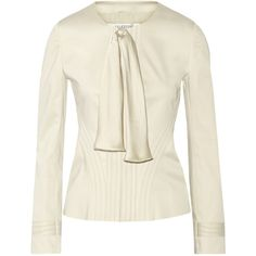 Valentino Bow-embellished cotton-blend blazer ($498) ❤ liked on Polyvore featuring outerwear, jackets, blazers, beige, beige jacket, white blazer, white jacket, beige blazer and bow jacket