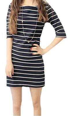 c24082205b8 XQS Women Fashion Casual Elbow Sleeve Stripe Loose Korean Dress Black M      Amazon most trusted e-retailer  KoreanDresses