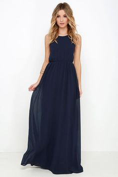 Nothing says adventure quite like the Comet's Tale Midnight Blue Maxi Dress! Lightweight woven fabric, with a lightly ribbed texture, shapes a fitted bodice supported by dual spaghetti straps that crisscross and tie at the base of an open back. Elastic waist leads into a slinky maxi skirt that swishes gracefully as you move. Hidden back zipper and clasp.