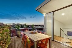 I'm stalking an apartment in Fitzroy's iconic MacRobertson building. Can Melbourne living get a. Outdoor Dining, Outdoor Spaces, Outdoor Decor, Real Estate Photography, Balcony Garden, Ideal Home, Warehouse, Outdoor Furniture Sets, Loft