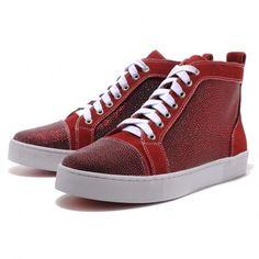 f5625b27928 Christian Louboutin Mans Glitter Nubuck High Top Sneakers Red Christian  Louboutin Sale