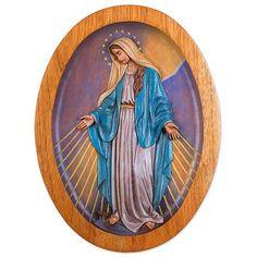 Cedar relief panel, 'Virgin of the Miraculous Medal' - Cedar Wall Relief Panel of the Virgin Mary from Peru
