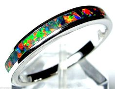 High Quality RED Fire Opal Inlay Solid 925 Sterling Silver Band Ring All Sizes #Band