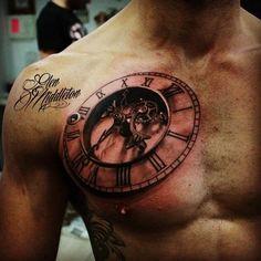 3D Tattoo Uhr mit Schrift