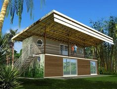 Shiping containers and Bamboo... Recicling and nature working together