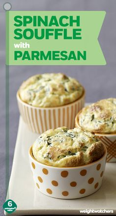 Individual Spinach Soufflés - so cute and so perfect for your next dinner party, side dish to steak or roasted potatoes! If you don't have ramekins, don't worry - you can use a muffin pan!