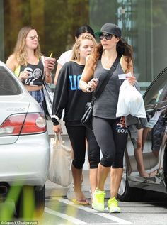 Keeping fit: Tana Ramsay was spotted at a Soul Cycle class in Brentwood with two of her daughters on Tuesday