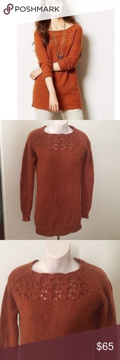 "Anthropologie MOTH Cut out Sweater Tunic S This is an Anthropologie Moth Cut out burnt orange sweater. It is a size small. Made of 70% wool 2% nylon 10% alpaca. Mint condition. Bust 36"" length 31"". Anthropologie Sweaters Crew & Scoop Necks"