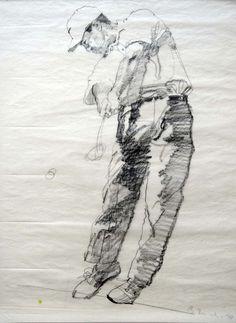Bernie Fuchs - Tiger Woods, swinging club, 1997 graphite on tissue, 23 1/2 x 19 inches