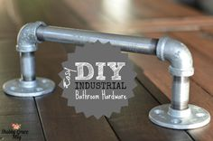 Super easy and inexpensive industrial bathroom hardware. It's different and unique. Guest will be talking about your bathroom hardware! Adds a great touch!
