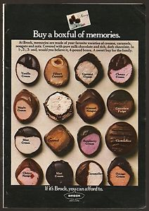 1970 Brock,Brach's Chocolate ad ~ Buy a Boxful of Memories, Candy Box, Cherry