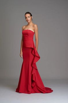 Zola Keller will find an evening dress or bridal gown of your dreams! Red Evening Gowns, Mermaid Evening Gown, Mermaid Gown, Red Gowns, Groom Wedding Dress, Groom Dress, Wedding Dresses, Bride Dresses, Affordable Prom Dresses