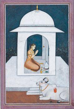 Shiva Worshipper. Mughal, mid 18th C. Cambridge. Bhairavi Ragini. http://www.viralgranny.com/