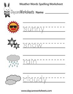 Preschoolers will practice writing words that describe different weather conditions. Sunny, snow, rain, and cloudy words are all in this free worksheet.