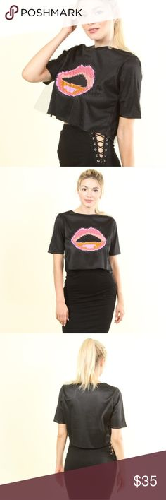 """😍JUST IN😍 """" want a kiss """" Lips crop top ♡♡♡♡♡♡♡♡♡♡♡♡♡♡♡ NEW ITEM IN MY BOUTIQUE  ♡♡♡♡♡♡♡♡♡♡♡♡♡♡♡  WANT A KISS ?!?!  short sleeve LIPS crop top   sexy fishnet layer on top     Available in various sizes Tops Crop Tops"""