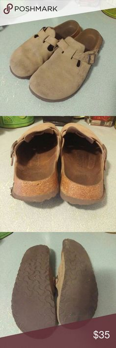 Betula by Birkenstock Taupe Suede Clogs. Sz 39 Decent condition. Show heel rubbing. Worn. Freshly cleaning. Lots of life left. Light colored stain by toes. Perfect for running around town on cooler autumn days. Neutral color. Birkenstock Shoes Mules & Clogs