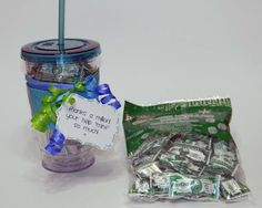 """Parent gift~ Thanks a million!  Your help """"mint"""" so much! Travel cup filled with million dollar mints from Dollar Tree.  Free printable labels."""