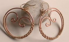 Earrings Solid Copper Swirls within a Circle GoldFilled by Ashar, $45.00