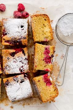 lemon cake with almonds and raspberries