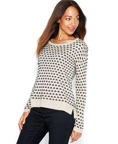 Maison Jules Polka-Dot Crew-Neck Sweater