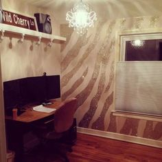 30 Inspiring Glitter Wall Paint to Make Over Your Room - Home Design Girl Room, House Design, Decor, Bedroom Decor, Zebra Wall, Glitter Paint For Walls, Glitter Wall, Home Decor, Room