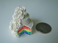 tiny gay wedding cake! and various other amazingly tiny foods.
