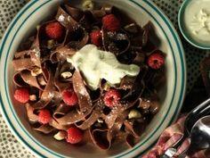 Chocolate Pasta with Chocolate Hazelnut Cream Sauce, White Chocolate Shavings and Fresh Berries from CookingChannelTV.com