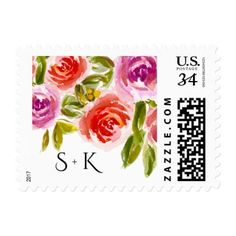 #bride - #Watercolor Floral design Monograms Wedding Stamps