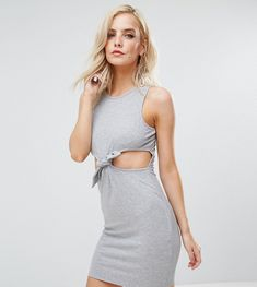 ASOS PETITE Mini Bodycon With Cut Out Tie Waist In Rib - Gray