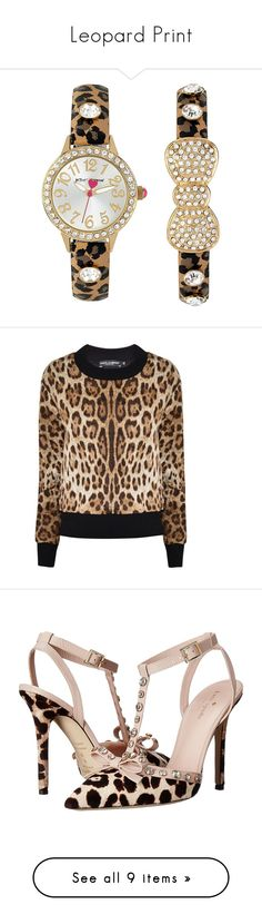 """""""Leopard Print"""" by cydney91 ❤ liked on Polyvore featuring jewelry, watches, leopard, leather-strap watches, bow jewelry, polish jewelry, betsey johnson watches, holiday jewelry, bags and handbags"""