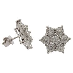 Ladies cast circular 18ct white gold stud earrings, polished finish with butterflies with 98 diamonds #jacobs #graysonline #auction #diamond #earrings